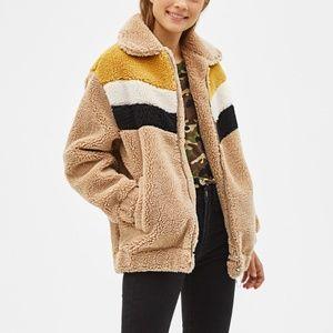 Bershka Shearling Oversized Jacket Coat Teddy XS